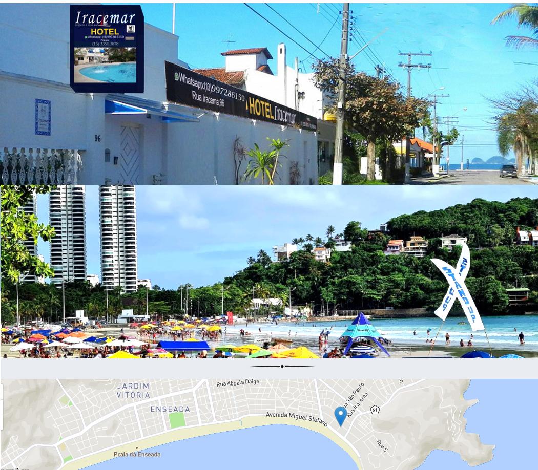 Vista da fachada, vista da praia e mapa de localização